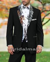 mens corbatas de desgaste formal al por mayor-Diseñador 2019 Camuflaje de bodas Trajes de camuflaje para bodas en la granja Personalizado Negro Slim Fit Blazers para hombre Ropa formal para el novio (chaqueta + pantalones + chaleco + corbata)