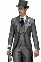 trajes de abrigo de cola al por mayor-Por encargo 3 UNIDS Tail Coat Slim Fit Traje Nupcial Ocasión formal Trajes de caballero