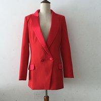 chaqueta de satén rojo mujer al por mayor-HIGH STREET Nuevo Estilo 2019 Classic Designer COAT Blazer Con muesca cuello de satén muesca roja chaqueta larga Blazer delgado suitJ1