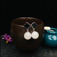 ingrosso borchie in orecchino nero-Original Design naturale orecchini di goccia argento 925 Hetian giada bianca Intarsi Nero