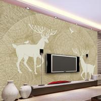 Wholesale tv birds resale online - Custom Mural Wallpaper Abstract Hand painted Tree Forest Birds Deer TV Backdrop Wall Decor Painting Modern Living Room Wallpaper