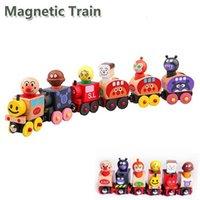 conjunto de trem magnético de madeira venda por atacado-Pão Homem Trem Magnético Modelo De Madeira Drag Toy Car Crianças Boneca Dos Desenhos Animados Puddle Jumper Brinquedos Das Meninas Dos Meninos 15 5xq O1