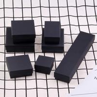 caixas de presente kraft preto venda por atacado-Top Quality Black Kraft caixas de embalagem de jóias pulseira colar caso anel brincos caixa de presente de casamento caixas personalizar tamanho frete grátis
