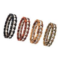 conjunto de pulseiras de madeira venda por atacado-Pulseira Conjunto de 4 PCS Pulseira De Madeira para Homens Mulheres Bead Bangles Amantes Braçadeira pulsera hombre