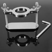 esaret çelik bilye sedye toptan satış-35mm Paslanmaz Çelik Skrotum Metal Kilitleme Menteşeli Cock Ring CBT Topu Sedyeler Ağırlık Krom Bitirmek Esaret Seks Oyuncakları Erkek için
