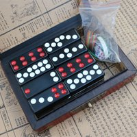 ingrosso materiale cinese-Chinese Black Card Nine Domino Giochi da tavolo Puzzle Game Antique Lovers Collectibles Gifts Melamina Material Ancient Leather Box