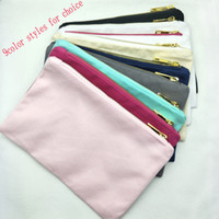 Wholesale 1pc blank cotton canvas makeup bag with gold zip gold lining black white cream grey navy mint hot pink light pink toiletry bag in stock