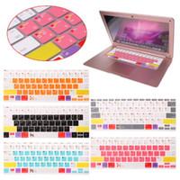clavier coloré en silicone achat en gros de-Autocollant coloré de couverture de peau de clavier de silicone coloré pour 12