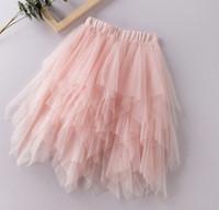 diz boyu etek kızlar için toptan satış-Moda çocuklar kız Leylak Fırfır Düzensiz Tül Etek Kızlar Genç TUTU Düğün Gelin Gelinlik Etek Diz Boyu Etek 3-12 Ys