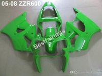 zzr carenados verde al por mayor-Venta caliente Kit de carenado del cuerpo de inyección para Kawasaki ZZR600 05 06 07 08 carenados verdes set ZZR 600 2005-2008 ZV15