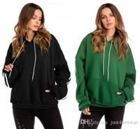 kış kol kolları toptan satış-Kış Hoodies Bayan Streetwear Gevşek Rahat Tişörtü Uzun Kollu Kol Çizgili Tasarım Hoodies Artı Boyutu Tops