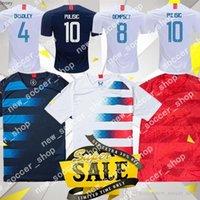 camisetas de fútbol de alta calidad al por mayor-2019 EE. UU. PULISIC Camisetas de fútbol BRADLEY DEMPSEY 19 20 Jersey de alta calidad de Estados Unidos Local para hombres Uniforme de fútbol para adultos