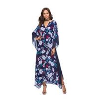 Wholesale swing color resale online – Women Dresses Printed Dress Bat Sleeve Women Long Skirt V Neck Clothing Large Pendulum Large Swing Dress