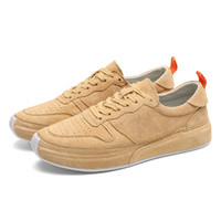 Wholesale pig skin resale online - Genuine Leather Casual Skateboard Shoes Trendy Pig Skin Sneakers Slip resistant Rubber Sole Lace up Colours Options