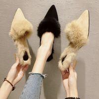 пушистые каблуки оптовых-Winter plush mules slippers women furry pointed toe chunky heels ladies fluffy fur slides soft comfortable warm shoes flipflops