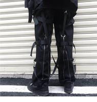 черные брюки для перевозки хип-хопа оптовых-Хип-хоп брюки-карго Streetwear 2019 Мужчины Harajuku Брюки на молнии сзади Пряжка ленты Хип-хоп Бегуны Шаровары Карманы Осень Черный