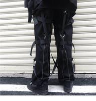 schwarze hip hop ladung hose großhandel-Hip Hop Cargohosen Streetwear 2019 Herren Harajuku Hinten Reißverschluss Hosen Schnalle Band HipHop Jogger Pluderhosen Taschen Herbst Schwarz
