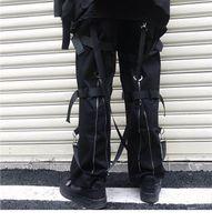ingrosso nastri neri-Pantaloni cargo hip-hop Streetwear 2019 Uomo Harajuku Pantaloni con cerniera posteriore Nastro con fibbia Pantaloni hip-hop Pantaloni harem Tasche Autunno Nero