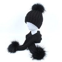 Wholesale cap fur ball top for sale - Group buy Winter Baby Girls Boy Beanies Hats Knitted Hat Scarf Set With Raccoon Fur Pompom Ball Caps Children Hats Kids Warm Beanie Suits