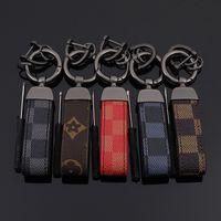anéis de couro para homens venda por atacado-Europa e América Estilo Chaveiro com Negócios De Couro Chave Do Carro Anéis para Homens Presente de Moda Clássico Chave de Impressão Acessórios