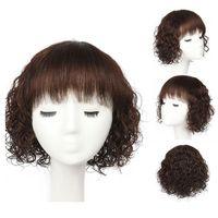 perruque de longueur moyenne brune foncée achat en gros de-Perruques de cheveux humains de longueur moyenne humides et ondulés de cheveux brésiliens de Remy brésiliens pour les femmes noires