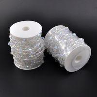 Wholesale crystal other resale online - 10m roll Wedding Decor Acrylic Crystal Beads Curtain Garland Shimmer Curtains Garland Strand Wedding Crystal Acrylic Bead roll KKA7053