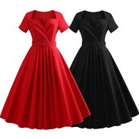 audrey hepburn stil kurze kleider groihandel-Kenancy Short Sleeves Plus Size Vintage Kleid Gürtel Baumwolle Solid Schwarz / Rot Audrey Hepburn Retro Kleid Party Vestidos Office Kleid Y19051001