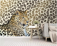 Wholesale decorative paintings for living room resale online - modern wallpaper for living room Leopard print leopard living room TV background wall decorative painting