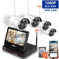 innen-ip-kamera versteckt großhandel-4Ch Wireless Kamera Kits Home Security CCTV-System wifi IP 1080P 4Channel HD Wireless-System mit 10,1-Zoll-Monitor für Villa Home