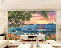 Wholesale beautiful sea painting resale online - 3d Wallpaper Coconut Grove Double Beach Chair Big Sea Beautiful Landscape Background Wall Painting Wall paper