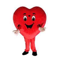 trajes da mascote do coração venda por atacado-2019 de alta qualidade quente coração vermelho mascote do amor do traje da mascote do coração do traje da mascote frete grátis pode adicionar o logotipo