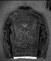 yarış ceketi motosiklet siyahı toptan satış-Vintage siyah 3D Alev kafatası desen geri erkekler Yarış deri ceketler 100% hakiki deri motosiklet ceketler