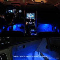 lampara de pie carro al por mayor-De alta calidad azul 4en1 luces atmósfera de coche de 12V LED 4x 3LED ambiente coche de la lámpara de luz interior azul romántica luz de interior del pie