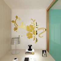 espejo de vinilo autoadhesivo al por mayor-Diy autoadhesivo patrón de flor 3d acrílico espejo estilo pegatinas de pared extraíble etiqueta de vinilo arte etiqueta de la pared dormitorio decoración para el hogar