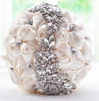 Wholesale brooch bouquet bridesmaids resale online - 2019 New Crystal Brooch Wedding Bouquet Wedding Accessories Bridesmaid Artifical Satin Flowers Wedding Flowers Bridal Bouquets