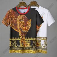 leopar desenli mens tişört toptan satış-Tasarımcı Erkek Marka T-Shirt Moda Yaz çiçekler medusa leopar panter hayvan baskı Rahat Barok kısa kollu T gömlek Tee En Tshirt