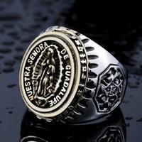 mary ring al por mayor-Joyería al por mayor Christian Virgin Mary Holy Ring hombres personalidad moda anillo fabricante envío rápido