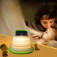 aufblasbare solarlaternen großhandel-Faltbare Solarlampe Versenkbare Campinglampe Tragbare Laterne Taschenlampe Aufblasbare Laterne Lampe Für Wandern Zelt Lampe Touch 3 Modus USB