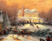 Wholesale thomas kinkade christmas prints for sale - Group buy NEW Thomas Kinkade Victorian Christmas II Wall Art Home Decor Handcrafts HD Print Oil painting On canvas Larger Picture