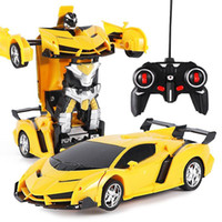 Damage Refund 2In1 RC Car Sports Car Transformation Robots Models Remote Control Deformation RC fighting toy Children's GiFT11