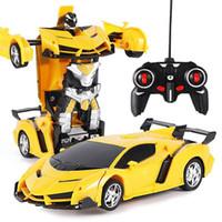 oyuncak araba uzaktan kumanda mini toptan satış-Hasar İade 2in1 RC Araba Spor Araba Dönüşüm Uzaktan Kumanda Deformasyon RC oyuncak Çocuk GiFT11 mücadele Modeller robotlar