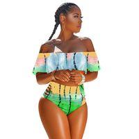 gekräuselte spitzenbikinis großhandel-Frauen Flouncy Badeanzug Tie-dyed Strapless Top + Hipster 2 Stück Bikini Set Designer Bademode Schulterfrei Falbala Rüschen Badeanzüge 1pcs A353