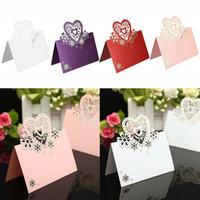 laser corte coração formas venda por atacado-Nome Número do lugar da festa de casamento Cartão da tabela da recepção Cartão Laser Cut Coração oco Cartão assento em forma