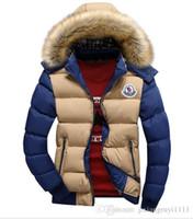 mens fur parka ceketleri toptan satış-Toptan Satış - Erkekler Kış Coat Kürk Yaka Ördek Aşağı Parka Ceketler Erkek Puffer ceket Kürk Hood Ile Tavşan Deisgner Sıcak Mont Marka Kadınlar