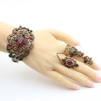 ethnische feste großhandel-Ethnischer Harz-Antike-Goldfarben-Schmuck Sets Blumen-Doppelt-Finger-Ring-Armband-Armband Indien Bijoux Hochzeit Festival Schmuck