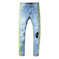 ingrosso jeans laterali-Pantaloni attillati a un buco con scollo a buco verde da uomo stile italiano nuovi Pantaloni slim skinny jeans blu denim taglia 28-40