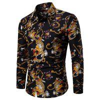 blusa de manga larga china al por mayor-Blusa de manga larga Ropa de hombre Camisa hawaiana Patrón de dragón Estilo chino Camisa para hombre de moda Nuevo Negro Azul Rojo