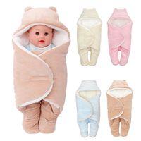 envoltura portátil para bebés al por mayor-Nuevo Creativo Sólido Invierno Cálido Suave Recién Nacido Portátil Manta Swaddle Saco de dormir Cocoon Infant Baby Wrap manta