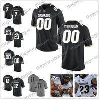 camisetas universitarias personalizadas al por mayor-Buffaloes personalizados de Colorado Cualquier nombre Número Cosido Negro Gris Blanco Camisetas de fútbol americano universitario NCAA # 3 K.D. Nixon 18 Tony Brown