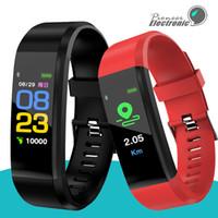 bandas de seguimiento al por mayor-Para apple Color Screen ID115 Plus Pulsera inteligente Rastreador de ejercicios Podómetro Reloj Banda Monitor de ritmo cardíaco Monitor de presión arterial Pulsera inteligente